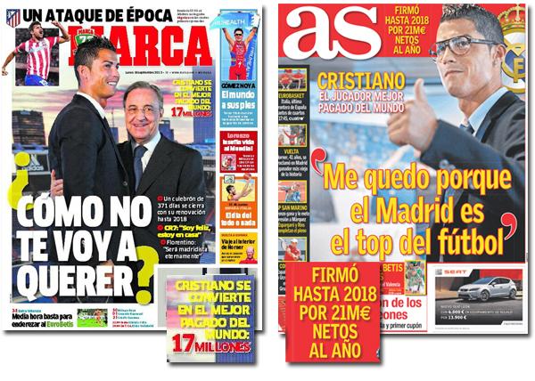 ¿Cuánto cobrará Cristiano Ronaldo según As y Marca?