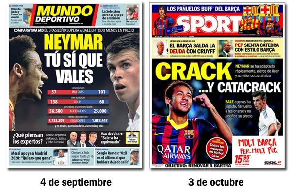 Comparación entre Neymar y Bale en Sport y Mundo Deportivo