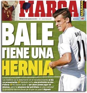 Gareth Bale sufre una hernia discal, según Marca