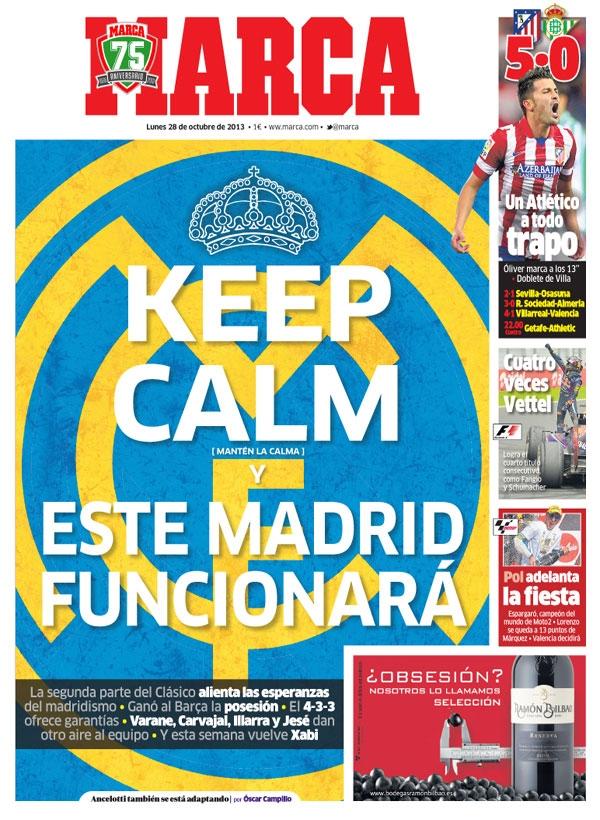 Keep calm en la portada de Marca