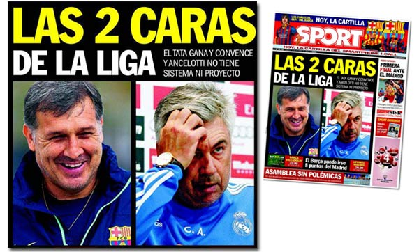 Tata Martino y Carlo Ancelotti en la portada de Sport