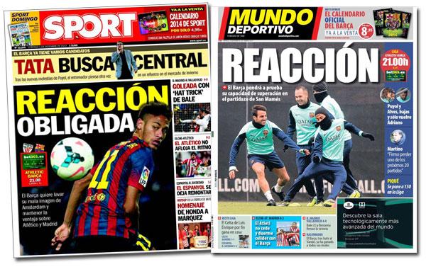 Portadas de los diarios Mundo Deportivo y Sport