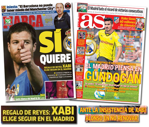 La renovación de Xabi Alonso en As y Marca