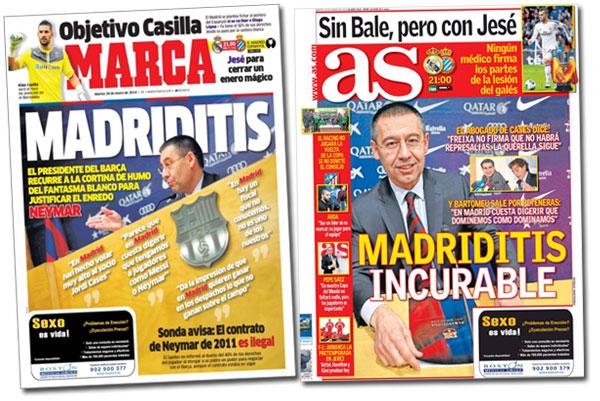 """La """"madriditis"""" de Josep Maria Bartomeu en las portadas de Marca y As"""