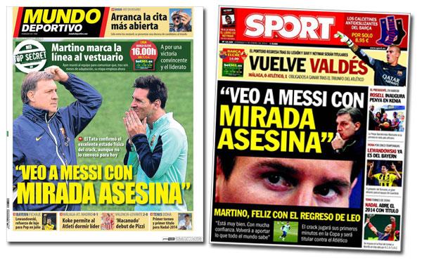 Leo Messi en portada de Sport y Mundo Deportivo