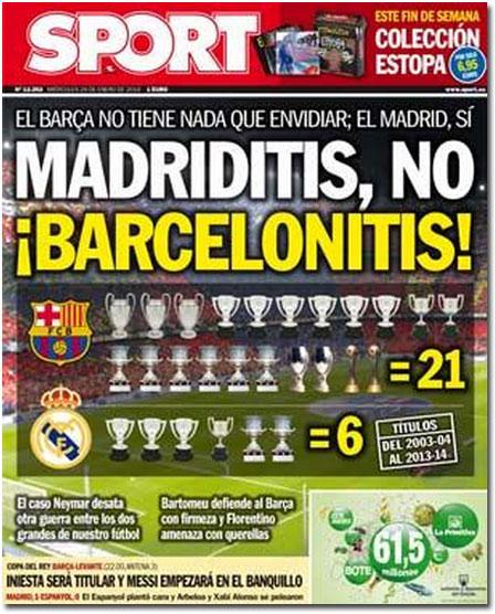 Madriditis y barcelonitis en portada de Sport