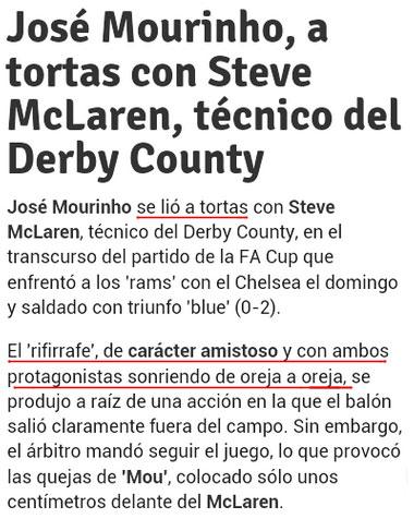 José Mourinho a tortas con Steve McClaren