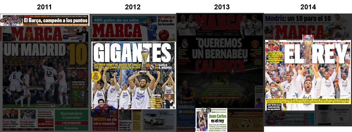 Portadas del diario Marca con la Copa del Rey de baloncesto