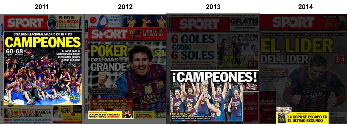 Portadas del diario Sport con la Copa del Rey de baloncesto