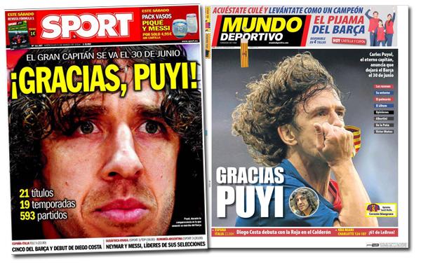 Carles Puyol en las portadas de Sport y Mundo Deportivo