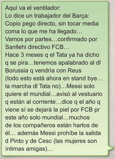 El presunto whattsapp del Barça