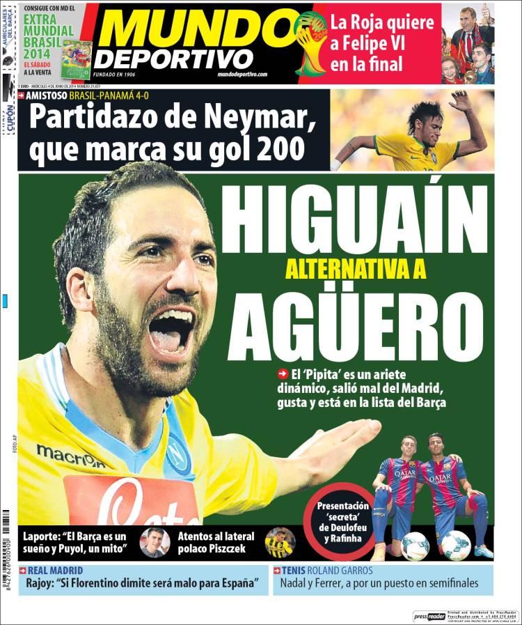 Gonzalo Higuaín en portada de Mundo Deportivo