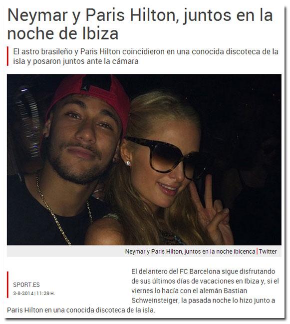 Neymar y Paris Hilton