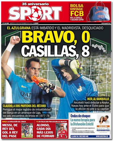 Portada de Sport con Claudio Bravo e Iker Casillas