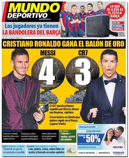 Leo Messi y Cristiano Ronaldo con sus balones de oro