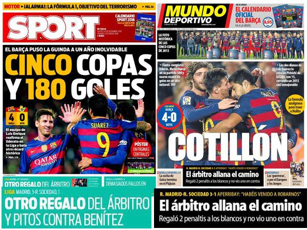 Portadas de Sport y Mundo Deportivo