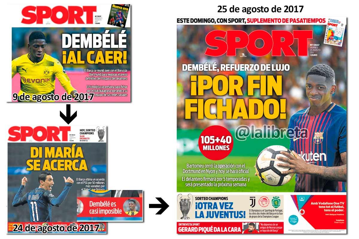 Dembele en portadas de Sport